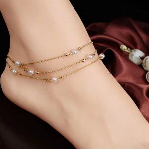 Gold-Color Alloy Pearl Three Storeys Anklets. Chain Length About 22cm+5cm